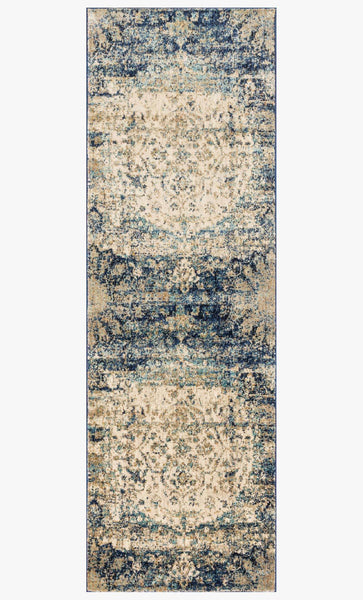 Finished Runner loloi area rugs 2.7 x 8 Anastasia Area Rugs Loloi Rugs AF-06 Blue-Ivory in 15 Sizes