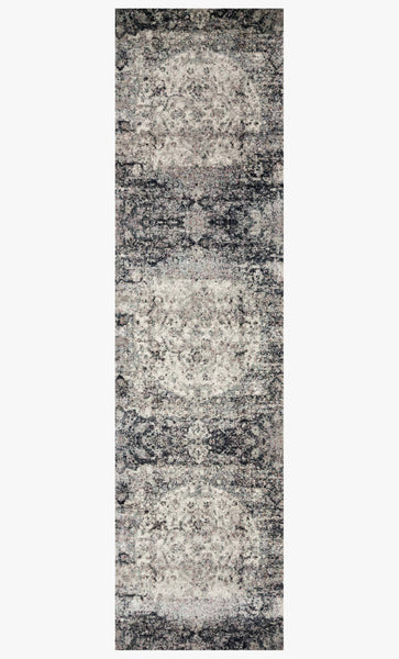 Finished Runner loloi area rugs 2.7 x 8 Anastasia Area Rugs By AF-06 Ink-Ivory in 15 Sizes