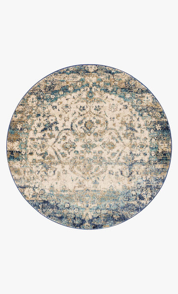 Round loloi  area rugs 5.3 x 5.3 RD Anastasia Area Rugs By Loloi Rugs AF-06 Blue-Ivory in 15 Sizes