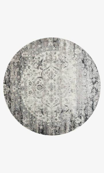 Round loloi  area rugs 5.3 x 5.3 RD Anastasia Area Rugs By Loloi Rugs AF-06 Ink-Ivory in 15 Sizes