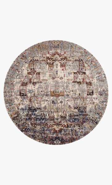 Round loloi area rugs 5.3 x 5.3 RD Anastasia Area Rugs By Loloi Rugs AF-08 Slate-Multi in 15 Sizes