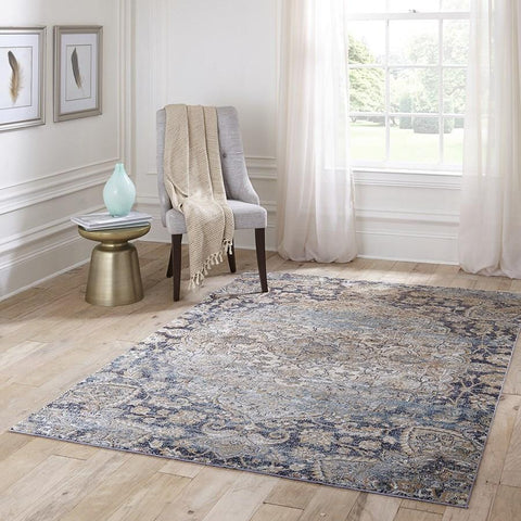 Momeni Area Rugs Amelia Area Rugs AM-01 Navy Poly Blend Power Loomed inTurkey