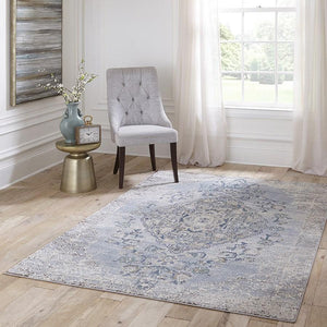 Momeni Area Rugs Amelia Area Rugs AM-02 Lt Blue Poly Blend Power Loomed inTurkey