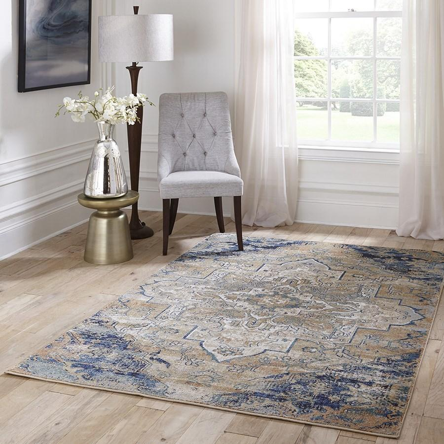 Momeni Area Rugs Amelia Area Rugs AM-03 Navy Poly Blend Power Loomed in Turkey