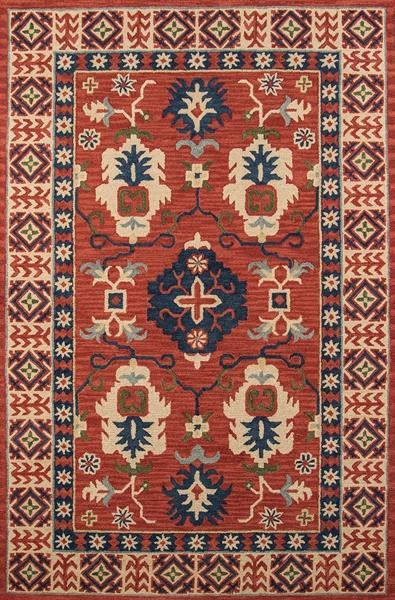 Momeni Area Rugs Tangier Area Rugs Tan-03 Red 100% Wool Hand Hooked From India