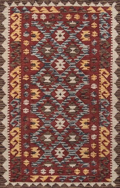 Momeni Area Rugs Tangier Area Rugs Tan-07 Red 100% Wool Hand Hooked From India
