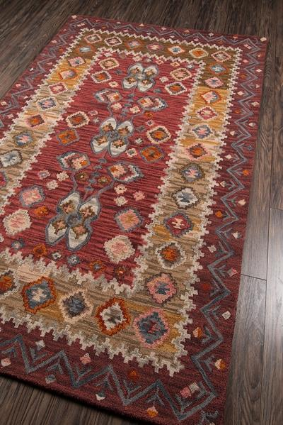 Momeni Area Rugs Tangier Area Rugs Tan-1 Red 100% Wool Hand Hooked From India