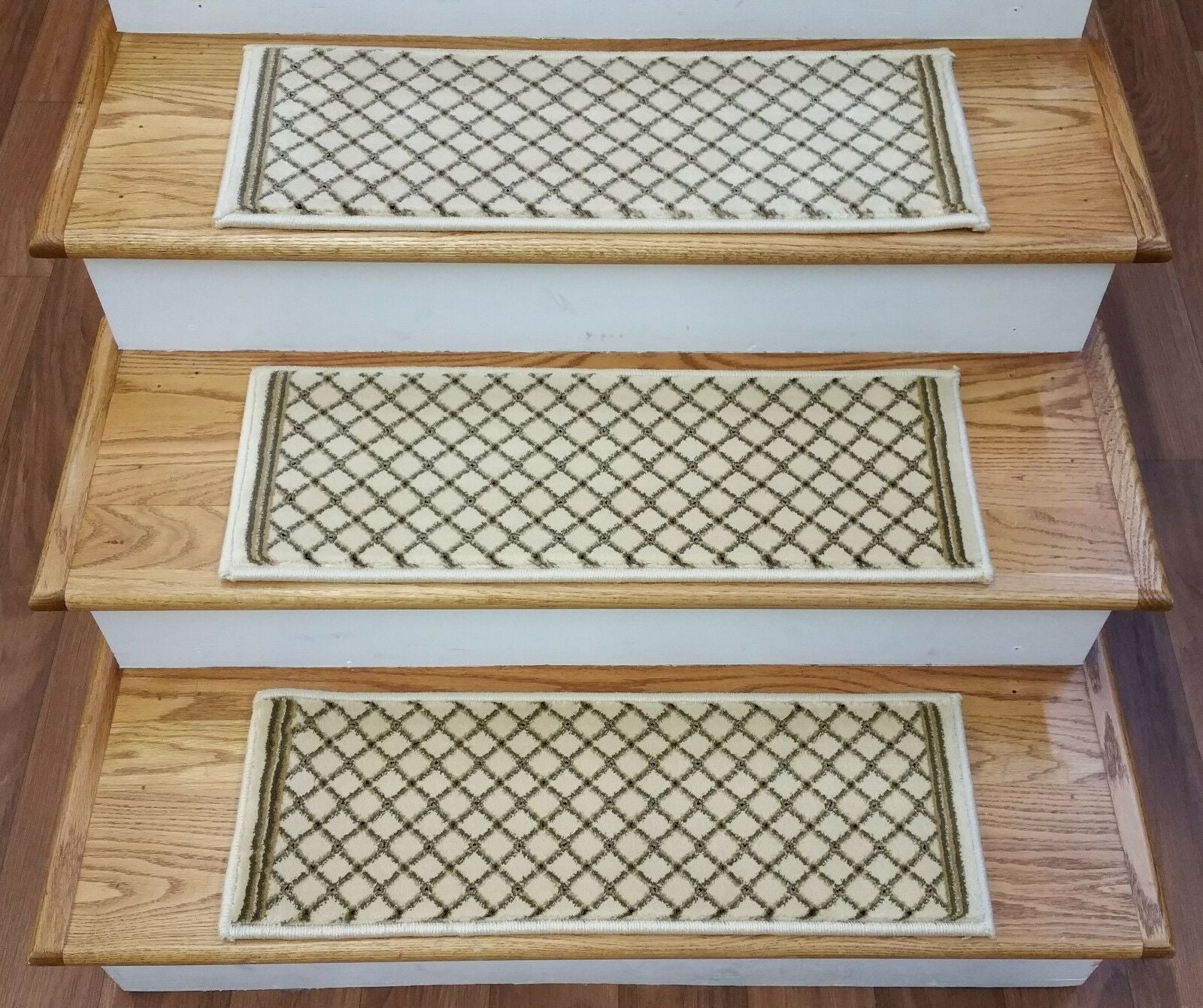 Natco Home Stair Treads Stair Treads 2028 Ivory 33in x 9in Set of 13 With Non Slip Pads