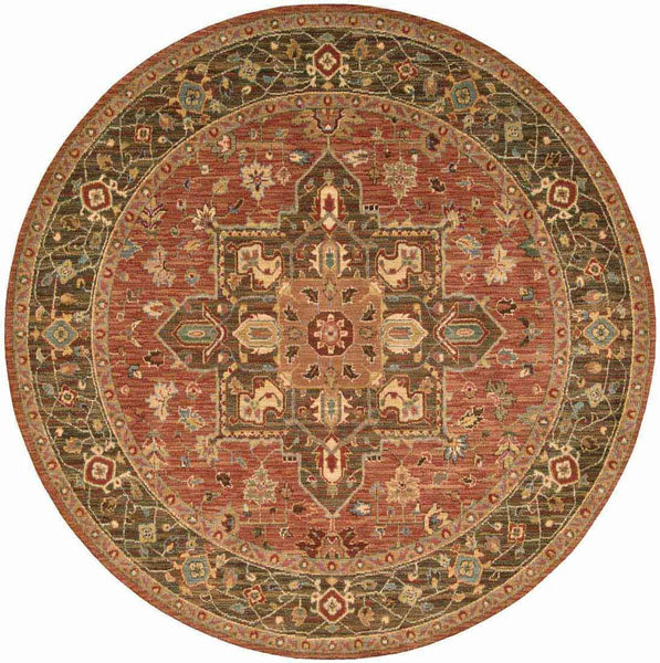 Nourison Area Rugs Living Treasures Area Rugs LI-01 Rust 100% Wool in 11 Sizes