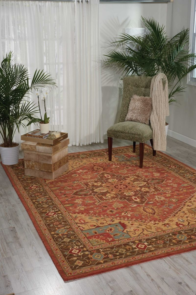 Living Treasures Area Rugs LI-01 Rust 100% Wool 11 Sizes By Nourison