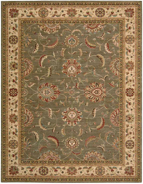 Living Treasures Area Rugs LI-04 Green 100% Wool 11 Sizes By Nourison