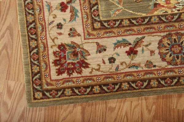 Nourison Area Rugs Living Treasures Area Rugs LI-04 Green 100% Wool in 11 Sizes