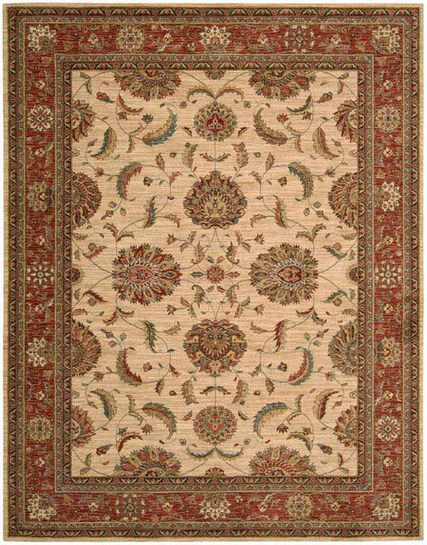 Nourison Area Rugs Living Treasures Area Rugs LI-04 Ivory-Red 100% Wool in 11 Sizes