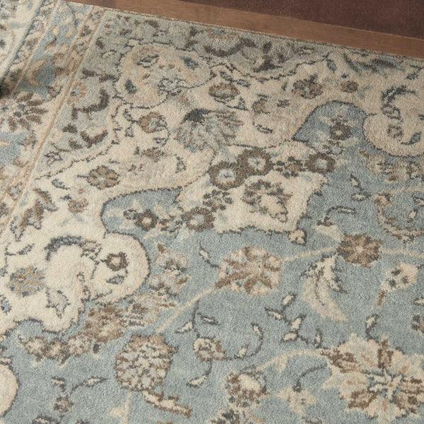 Nourison Area Rugs Living Treasures Area Rugs LI-15 Aqua 100% Wool in 11 Sizes