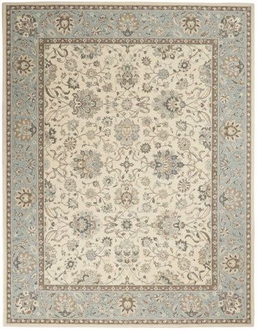 Nourison Area Rugs Living Treasures Area Rugs LI-16 Ivory-Aqua 100% Wool in 11 Sizes