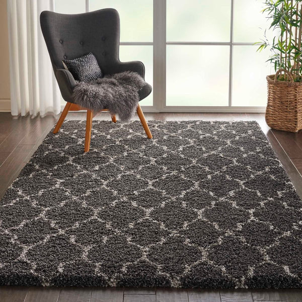 Room Shot Nourison Shags Rugs Amore Collection By Nourison Amor2 Charcoal Unique Shapes and Sizes