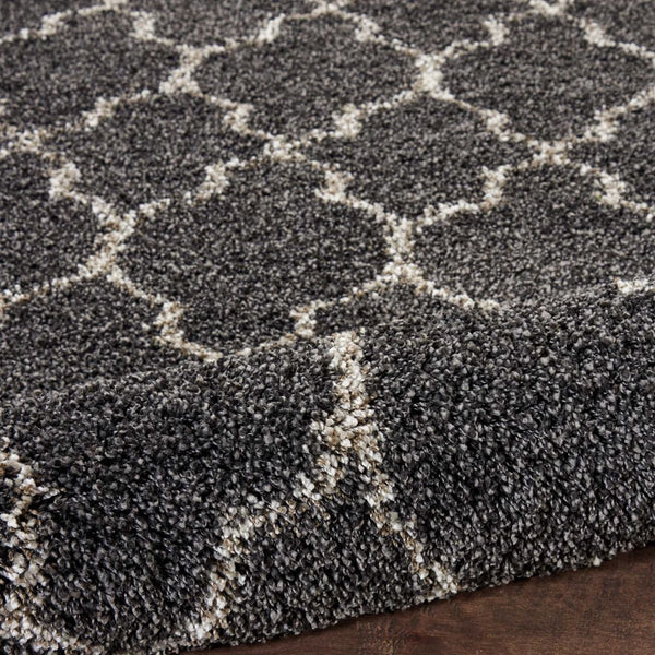Close up Nourison Shag Rugs Amore Collection By Nourison Amor2 Charcoal Unique Shapes and Sizes