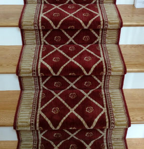 Nourison Stair Runner Ashton House Red Stair Runner Trellis AS03-SIE - 27in- Sold By the Foot