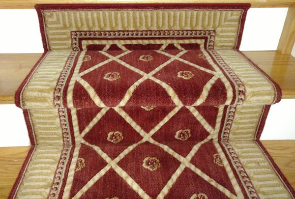 Nourison Stair Runner Ashton House Red Stair Runner Trellis AS03-SIE - 36in - Sold By the Foot
