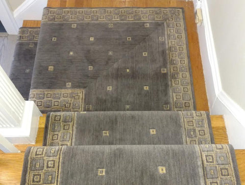 Nourison Stair Runner Cosmopolitan Squares C31R-PLT - 36 inch Stair Runner - Sold By the Foot