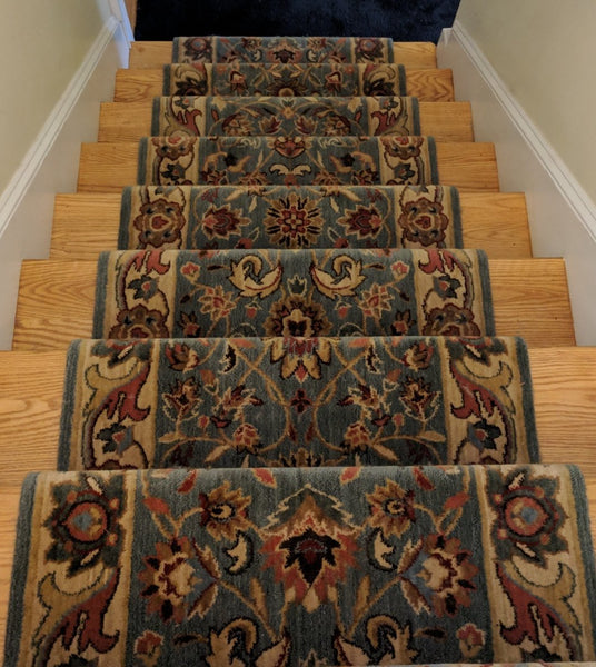 Nourison Stair Runner Grand Parterre Blue Stair Runner PT01-BLUE 30 inch Sold By the Foot