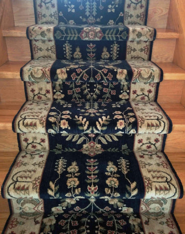 Nourison Stair Runner Grand Parterre Stair Runner PT02-MIDNIGHT 30In Sold By the Foot