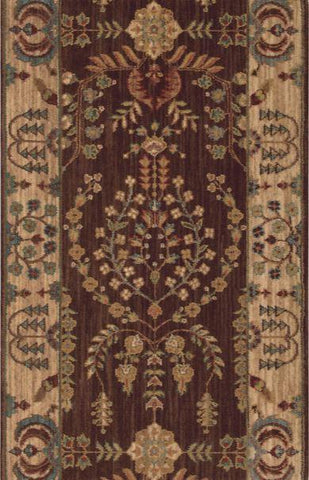 Nourison Stair Runner Grand Parterre Wool Stair Runner PT02-Brown 30In Sold By the Foot