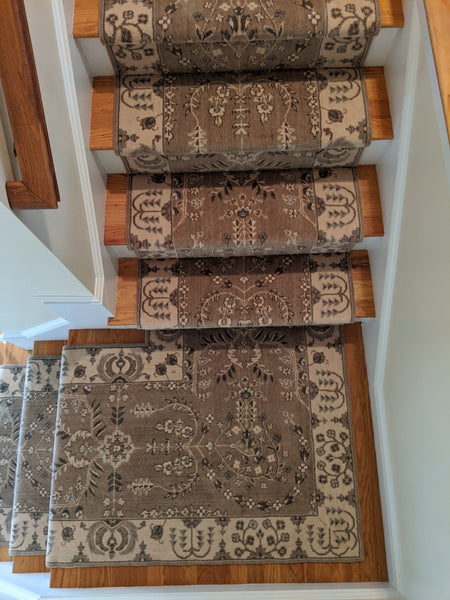 Nourison Stair Runner Grand Parterre Wool Stair Runner PT02-Hazelnut 30In and 41in Sold By the Foot