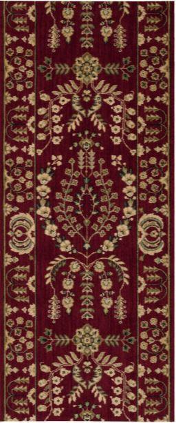 Nourison Stair Runner Grand Parterre Wool Stair Runner PT02-Red 30In Sold By the Foot