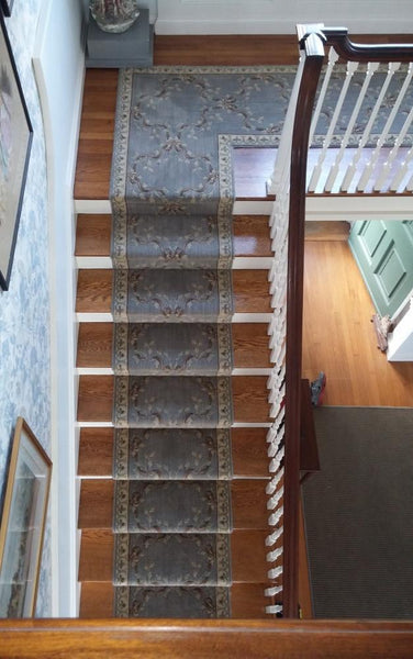 Nourison Stair Runners Blue Stair Runner RIBBON TRELLIS AS01-HAZE - 27in Sold By the Foot