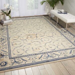 Nourtex Area Rugs Somerset Area Rugs St-02 Ivory-Blue and Stair Runner By Nourtex