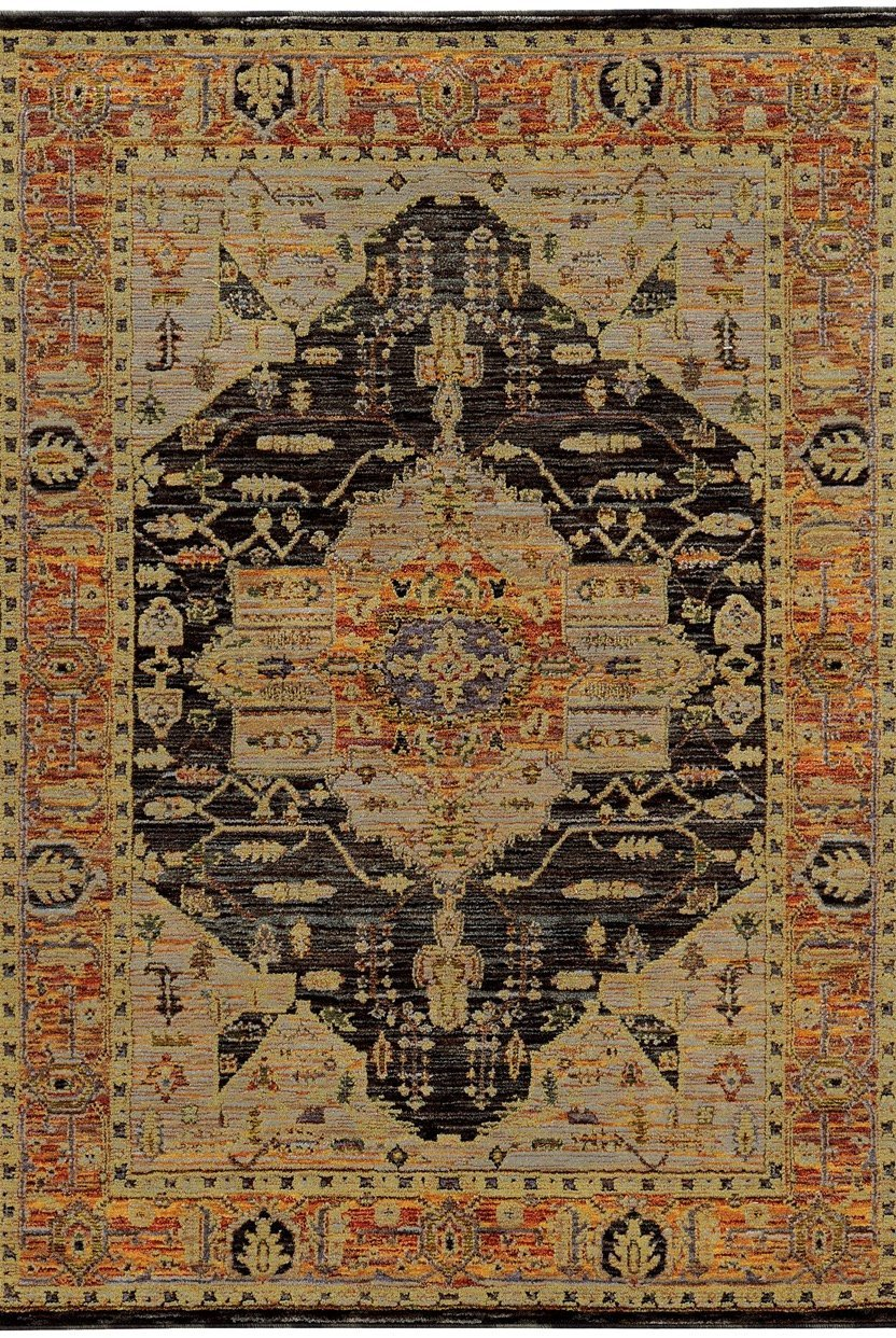 Oriental Weavers Area Rugs Andorra Area Rugs 7138b Black Nylon/Poly Blend Made in USA