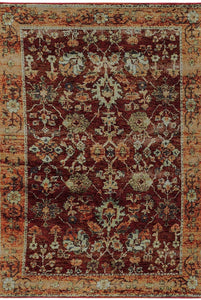 Oriental Weavers Area Rugs Andorra Area Rugs 7154a Red Nylon/Poly Blend Made in USA