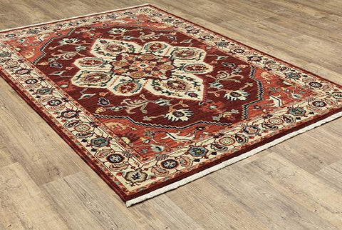 Oriental Weavers Area Rugs Lilihan Area Rugs 5502c Red Geometric Wool-Nylon Blend In 8 Sizes
