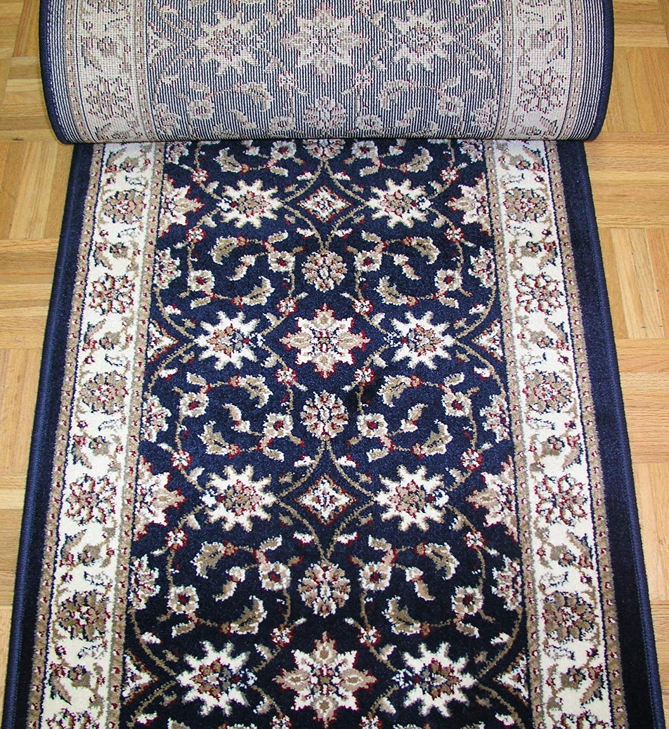 Como 1592 navy Stair Runners Floral-26 inch Sold By the Foot On Sale