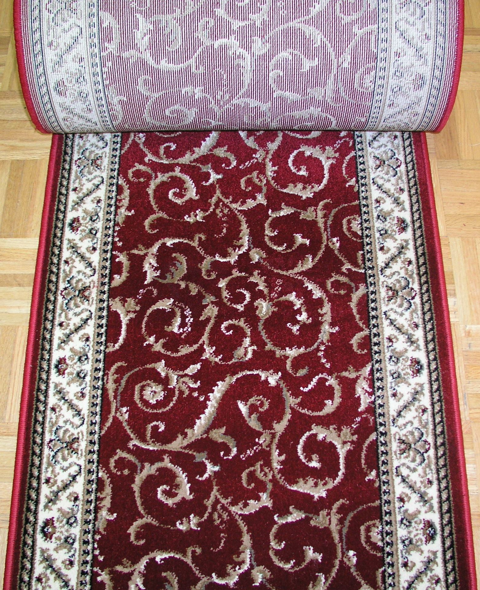 Como 1599 Red Stair Runners Scroll - 26 inch Sold By the Foot