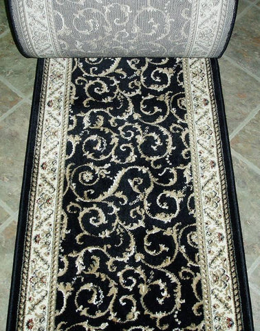 RadiciUsa Stair Runner Como 1599 Black Stair Runner Scroll - 26 inch Sold By the Foot