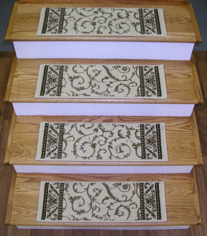 RadiciUsa Stair Treads Stair Treads Ivory Como 26in x 9in Set of 13 With Non Slip Pads