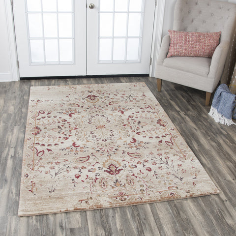 Rizzy Home Area Rugs Gossamer Area Rugs By RizzyHome GS6785 Ivory100 % Wool From India