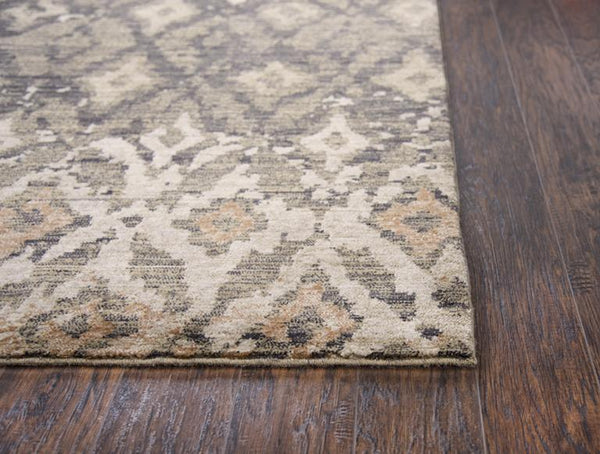 Gossamer Area Rugs By RizzyHome GS6795 Brown 100% Wool From India Corner Post
