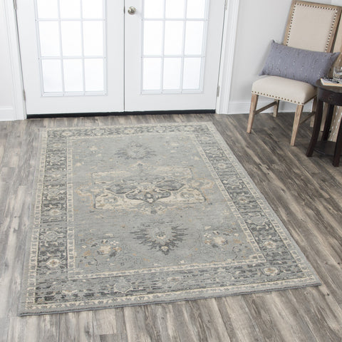 Rizzy Home Area Rugs Gossamer Area Rugs By RizzyHome GS6798 Gray100% Wool From India