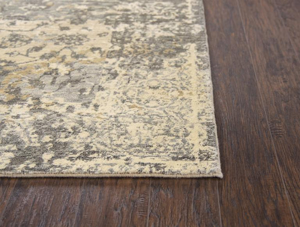 Gossamer Area Rugs By RizzyHome GS6799 Beige 100% Wool From India Corner Shoy