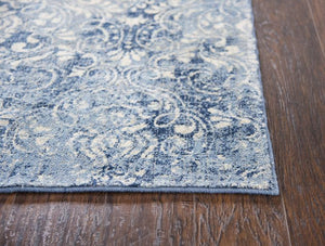 Rizzy Home Area Rugs Gossamer Area Rugs By RizzyHome GS6816 Lt Blue 100% Wool From India Corner Shot