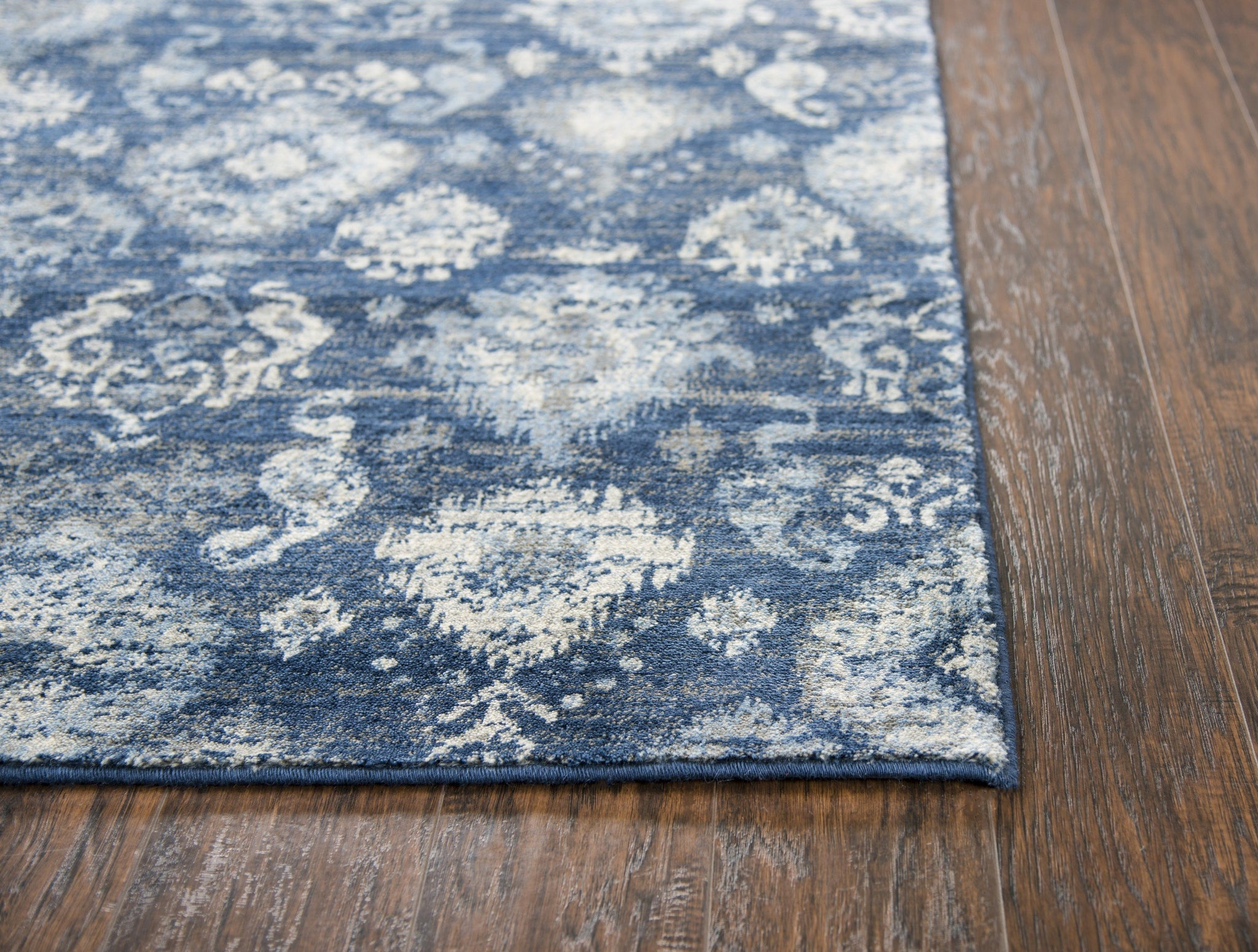 Gossamer Area Rugs By RizzyHome GS6827 Blue100% Wool From India Corner Shot