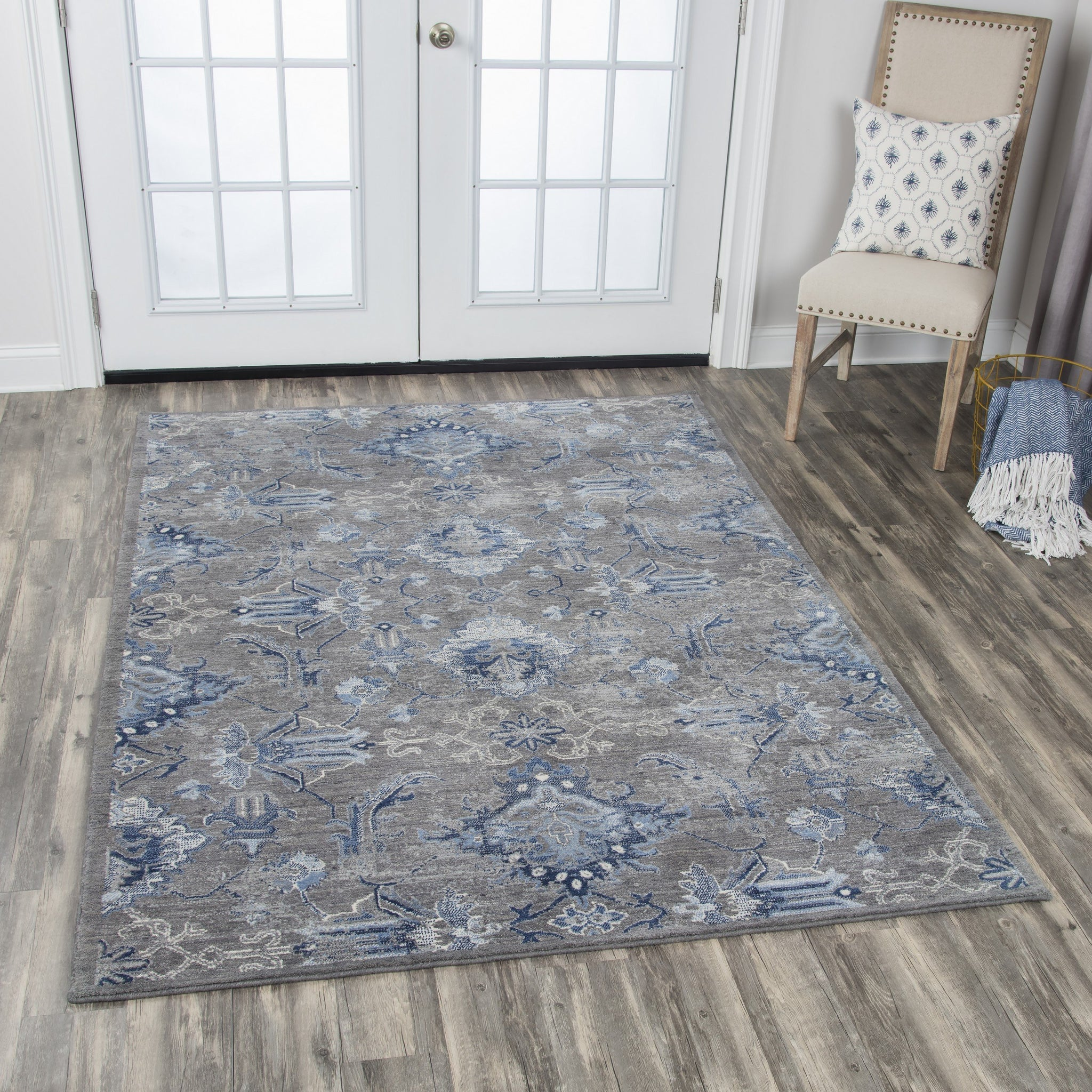 Gossamer Area Rugs By RizzyHome GS7225 Gray 100% Wool From India Room Shot