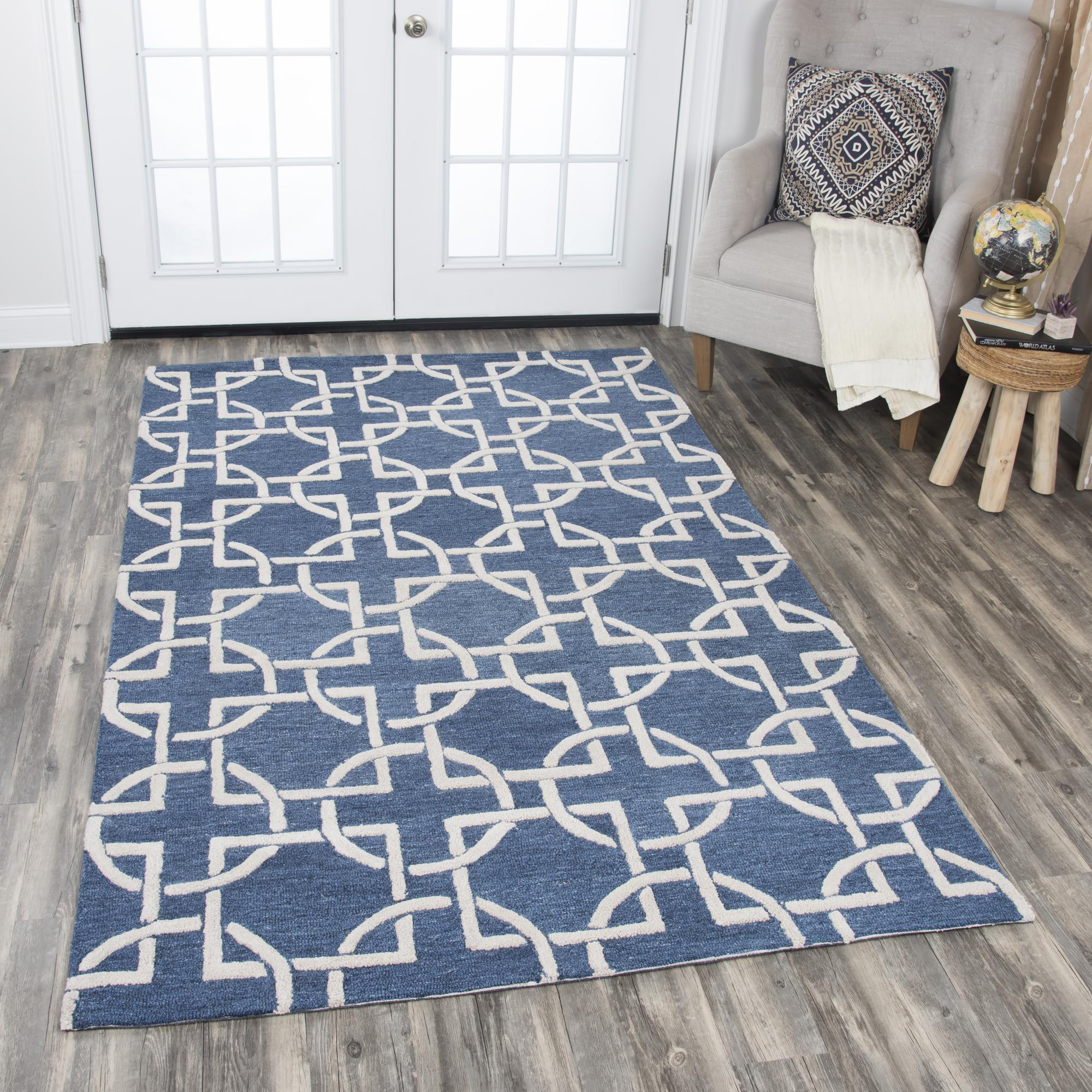 Rizzy Home Area Rugs Idyllic Area Rugs ID880A Blue 100% Wool India