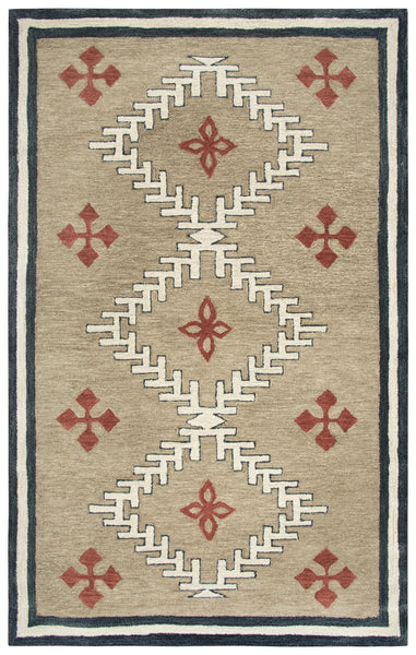 Rizzy Home Area Rugs Mesa Area Rugs MZ049B Brown Wool Southwest Design in 3 Sizes