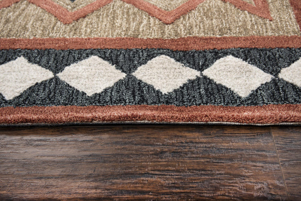 Rizzy Home Area Rugs Mesa Area Rugs MZ055B Brown Wool Southwest Design in 3 Sizes