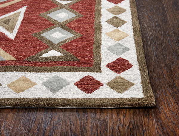 Rizzy Home Area Rugs Mesa Area Rugs MZ056B Red Wool Southwest Design in 3 Sizes