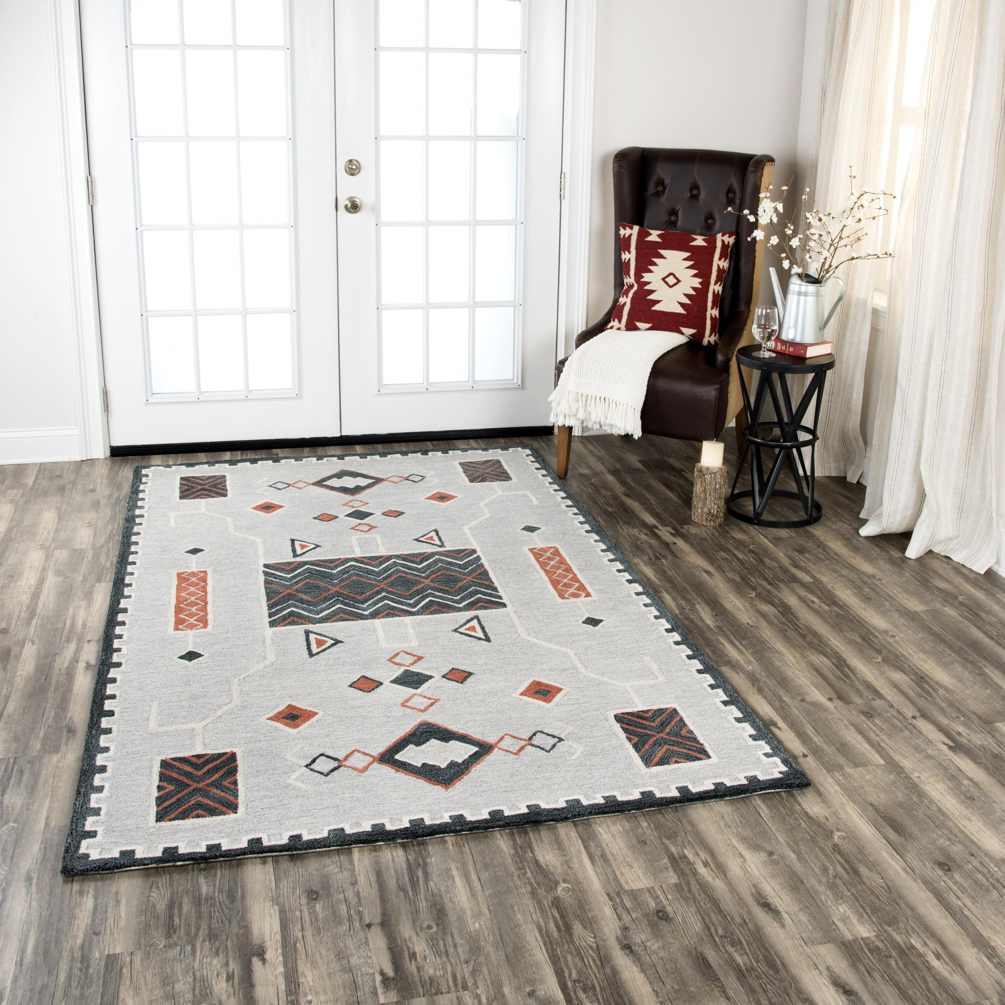 Rizzy Home Area Rugs Mesa Area Rugs MZ158B Beige Wool Southwest Design in 3 Sizes